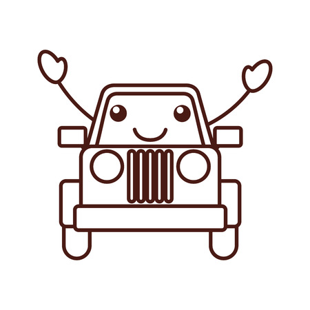 car isolated: kawaii jeep car camping transport adventure vector illustration Illustration