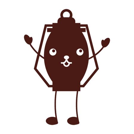 Ilustración de vector de dibujos animados de camping de lámpara de keroseno kawaii Foto de archivo - 86002537