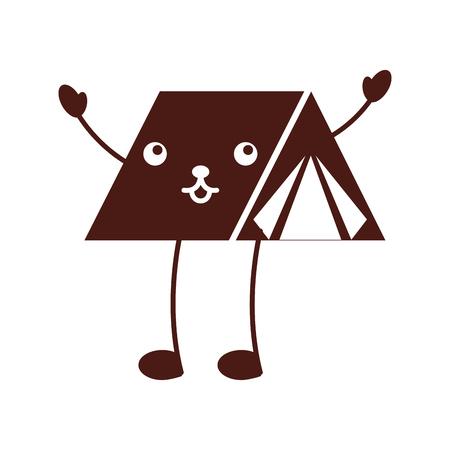 かわいい観光キャンプ テント漫画画像ベクトル図