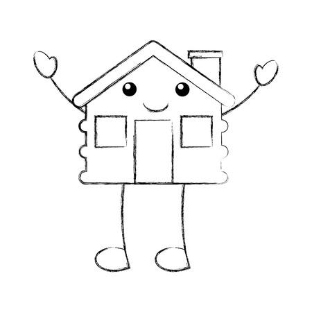 cartoon cabane house cheminée en bois vecteur comique illustration Vecteurs