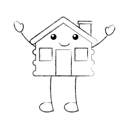 cartoon cabin house wooden chimney comic vector illustration Ilustração Vetorial