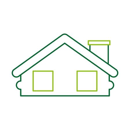 목조 오두막 집 굴뚝 캠프 외관 벡터 일러스트 레이션 스톡 콘텐츠 - 86002569