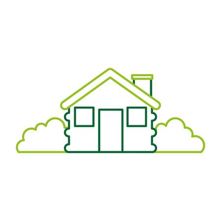 wooden cabin house chimney bushes camp exterior vector illustration Illustration