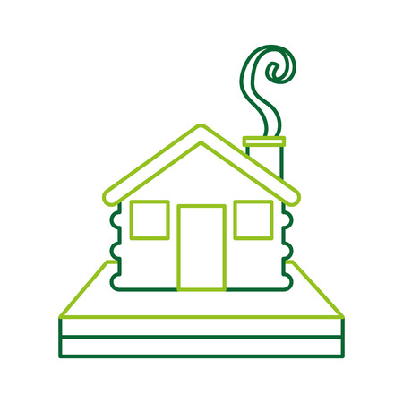 wooden cabin house chimney smoke camp exterior vector illustration Иллюстрация