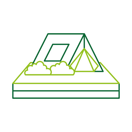 touristic camping tent bushes campsite vector illustration