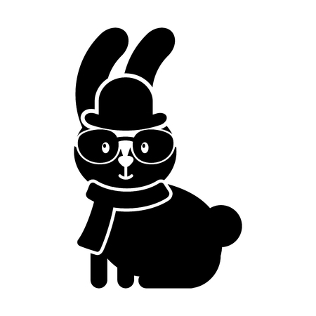 cute rabbit hipster hat scarf and glasses vector illustration