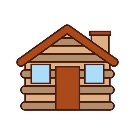 En bois cabine maison cheminée camp extérieur vector illustration Banque d'images - 86002621