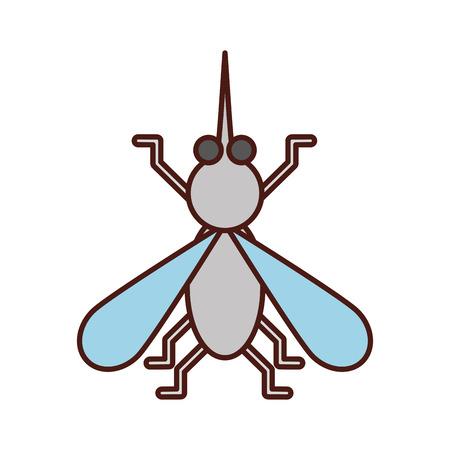 집 파리 곤충과 동물 방해 만화 벡터 일러스트 레이션