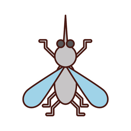 house fly insect and animal disturb cartoon vector illustration