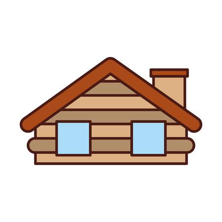 목조 오두막 집 굴뚝 캠프 외관 벡터 일러스트 레이션 스톡 콘텐츠 - 86002632