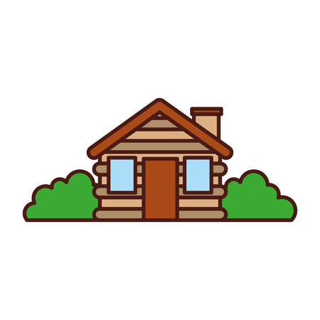 wooden cabin house bushes chimney camp exterior vector illustration Illustration