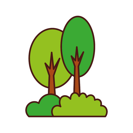 木の森の茂み自然なキャンプの葉植物ベクトルイラスト 写真素材 - 86002646