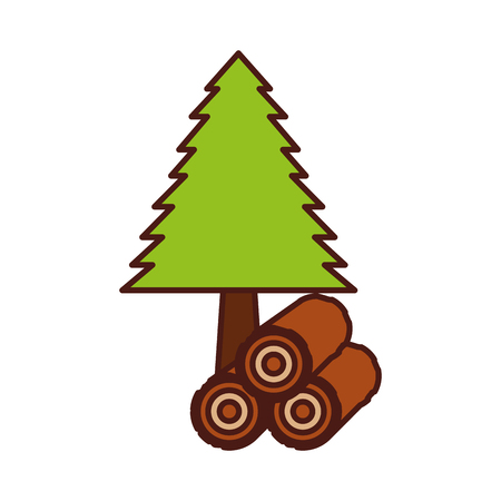 pine tree forest natural flora image vector illustration Illusztráció