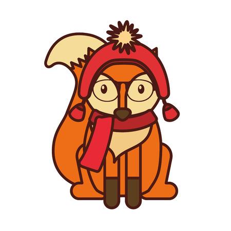 vintage postcard: forest fox hipster with hat glasses vector illustration
