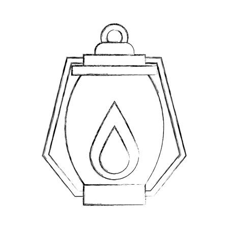 kerosene lamp light camping antique object vector illustration