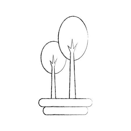 two: tree forest natural camping foliage plant vector illustration