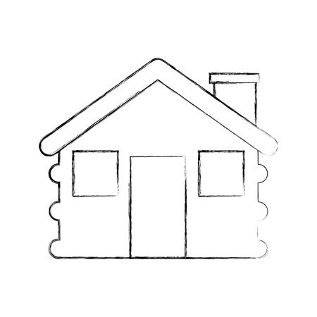 목조 오두막 집 굴뚝 캠프 외관 벡터 일러스트 레이션 스톡 콘텐츠 - 86002690