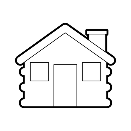 wooden cabin house chimney camp exterior vector illustration