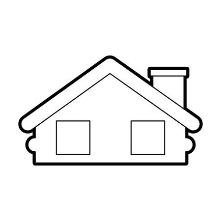 목조 오두막 집 굴뚝 캠프 외관 벡터 일러스트 레이션 스톡 콘텐츠 - 86002735