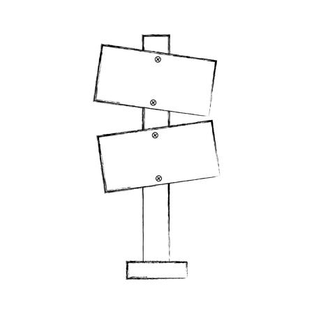 Panneau d'avertissement blanc en bois panneau illustration vectorielle Banque d'images - 86002746