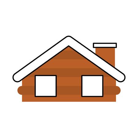 wooden cabin house chimney camp exterior vector illustration