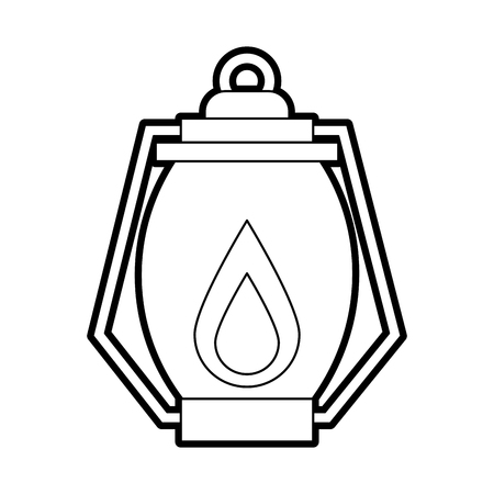 kerosene lamp light camping antique element vector illustration