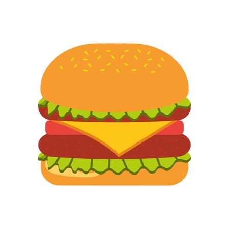 Fast food hamburger gustoso deliziosa illustrazione vettoriale pranzo pranzo Archivio Fotografico - 86002805