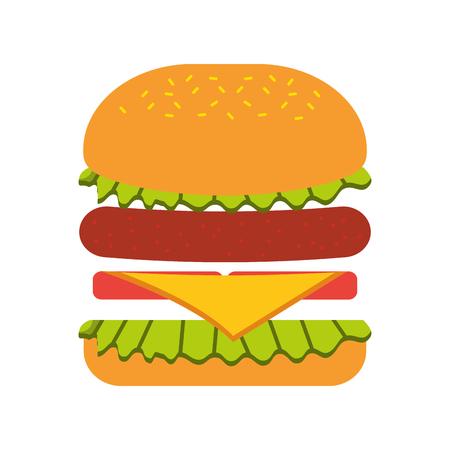 Fast food hamburger gustoso deliziosa illustrazione vettoriale pranzo pranzo Archivio Fotografico - 86002811
