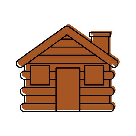목조 오두막 집 굴뚝 캠프 외관 벡터 일러스트 레이션