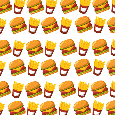 burger and french fries fast food seamless pattern design vector illustration Illustration