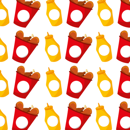 fast food bucket chicken and mustard seamless pattern design vector illustration