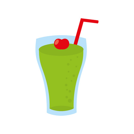 Glass of lemonade with drinking straw vector illustration