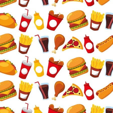 fast food menu restaurant seamless pattern design vector illustration 向量圖像
