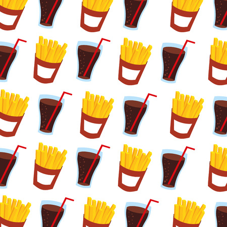 fast food french fries and soda seamless pattern design vector illustration