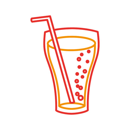 fast food glass cup cola drink bubbles vector illustration 向量圖像