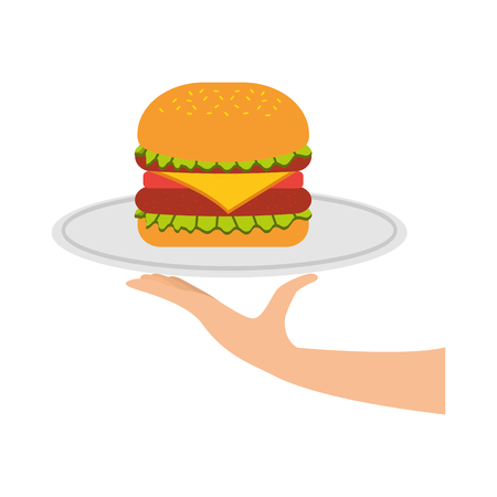 burger fast food tasty delicious snack lunch vector illustration