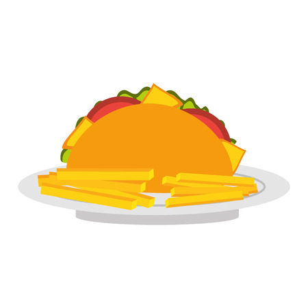 fast food taco mexican menu restaurant vector illustration Иллюстрация