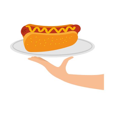 fast food hot dog sausage and mustard dinner vector illustration