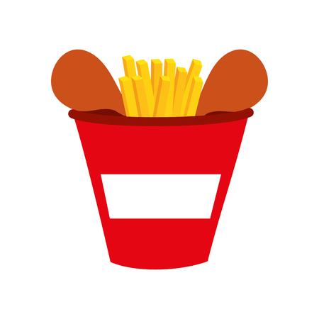 Fastfood emmer gebraden kip menu vector illustratie