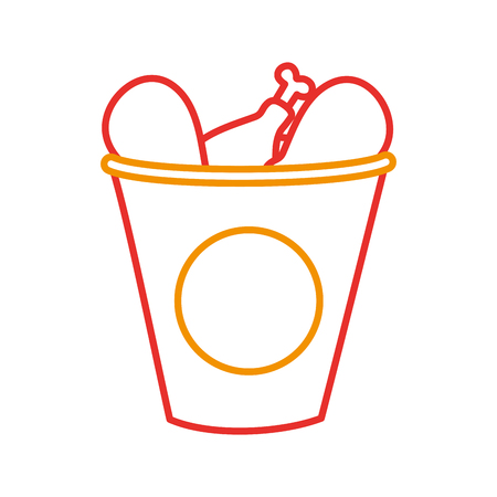 fast food bucket roasted chicken menu vector illustration Illustration