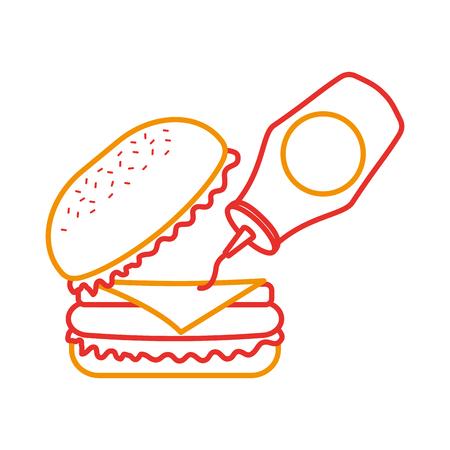 ハンバーガー ファーストフードおいしい軽食ランチ ベクトル図