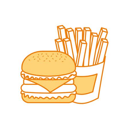 Fast food hamburger gustoso deliziosa illustrazione vettoriale pranzo pranzo Archivio Fotografico - 86002860