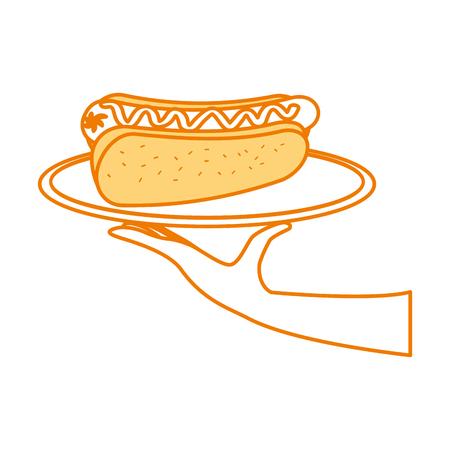 fast food hotdog worst en mosterd diner vector illustratie
