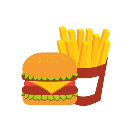 햄버거 패스트 푸드 맛있는 맛있는 스낵 점심 벡터 일러스트 레이션 스톡 콘텐츠 - 86002867
