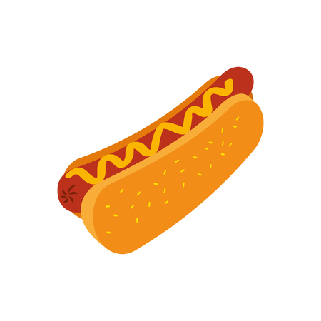 fast food hot dog sausage and mustard dinner vector illustration