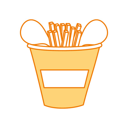 fast food bucket roasted chicken french fries menu vector illustration