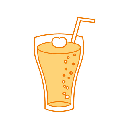 glass of lemonade with drinking straw vector illustration Reklamní fotografie - 86059437