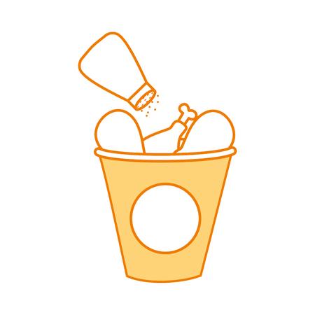 ファーストフード バケット ロースト チキン メニュー ベクトル図