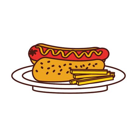 fast food hotdog worst frieten en mosterd diner vector illustratie Stock Illustratie