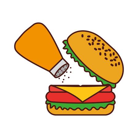 Hamburger, restauration rapide, délicieux, délicieuse, collation, déjeuner, illustration vectorielle Banque d'images - 86059449